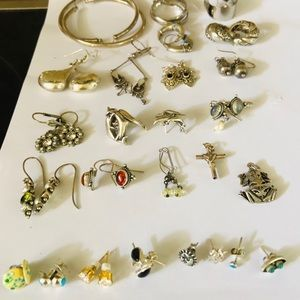 Vintage Sterling Boho Earring Lot 20+ pieces